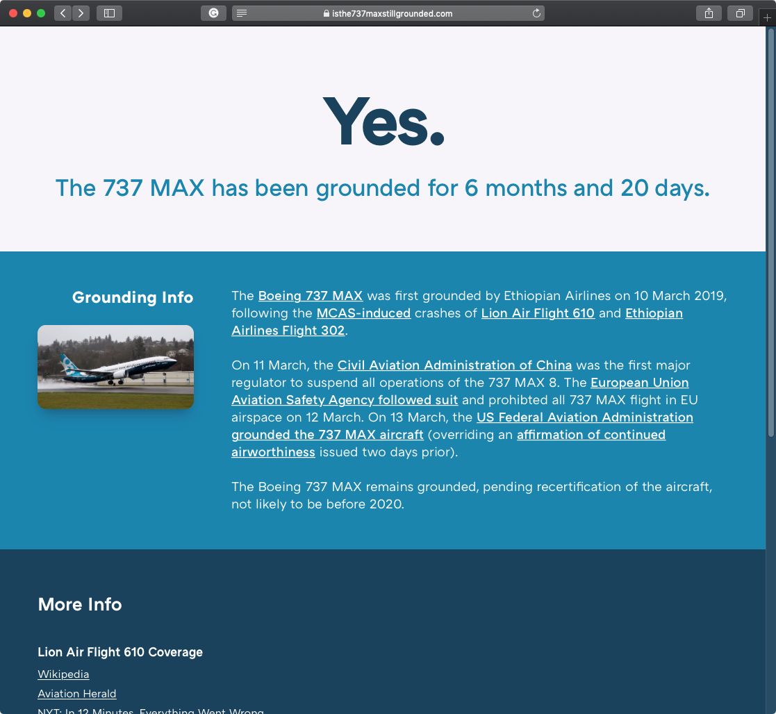 A screenshot of my single-serving website, Is the 737 MAX still grounded?.