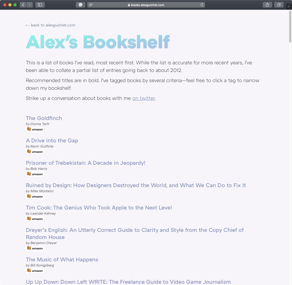 A screenshot of books.alexguichet.com